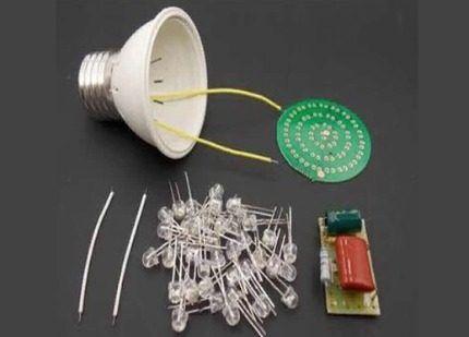 Составные части светодиодной лампы