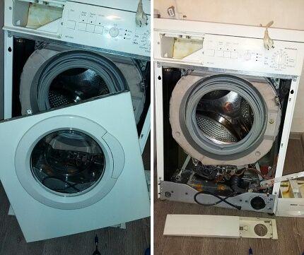 Разборка корпуса стиральной машинки перед прочисткой