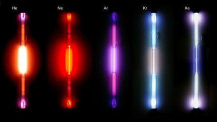 Варианты свечения газоразрядных ламп