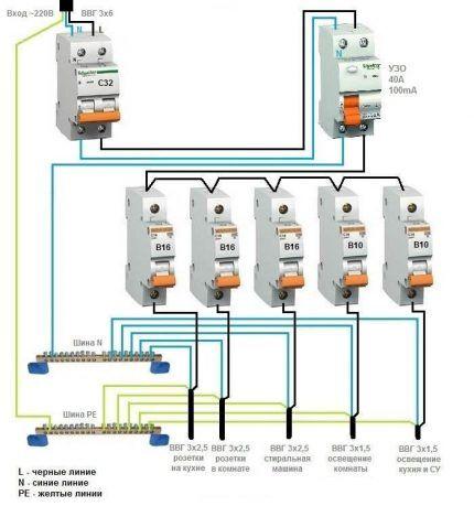 Общее УЗО для 1-фазной сети