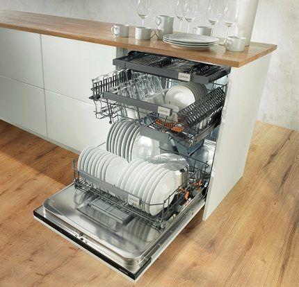 Внутреннее пространство высокой посудомойки