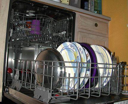 Чистая посуда в посудомойке