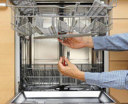Внутреннее устройство посудомоечной камеры