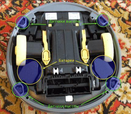 Вид снизу на роботизированный пылесос