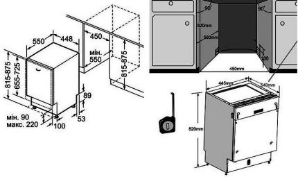 Схема установки посудомойки