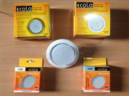 Светильники торговой марки Экола