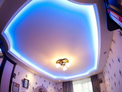 Stretched ceiling decoration with LED tape