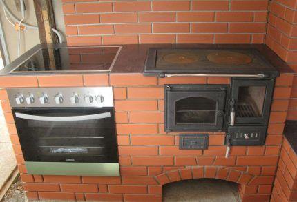 Печь с плитой