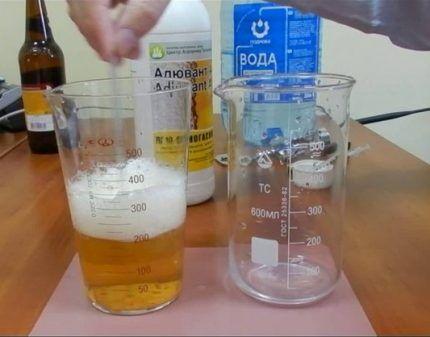 Приготовление раствора для гашения пены в домашних условиях