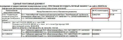 Код плательщика в квитанции