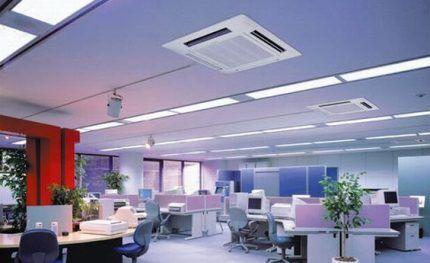 Кассетная система в офисном помещении
