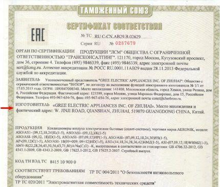 Сертификат соответствия на кондиционеры Aeronik
