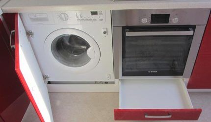 Встраеваемая стиральная машина на кухне
