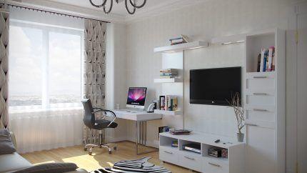 Комната с компьютером и телевизором