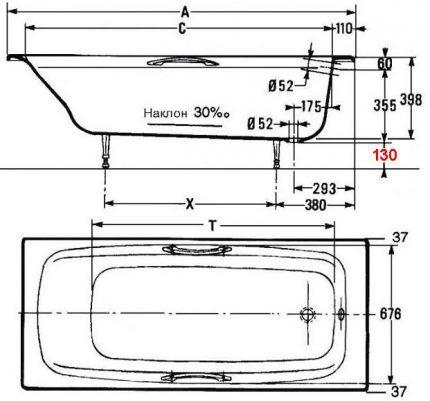 Параметры ванны на схеме