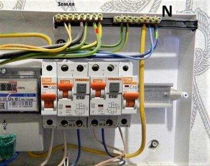 Подключение проводников к шинам