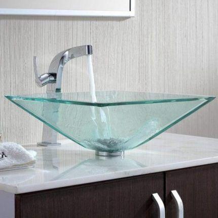 Накладная раковина из прозрачного стекла