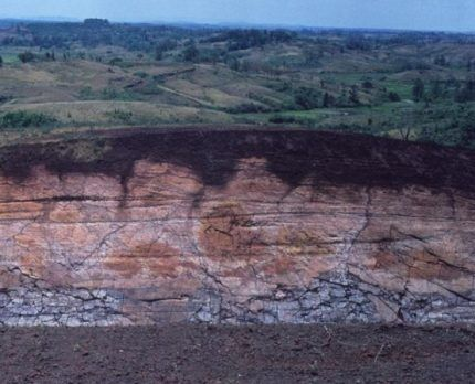 Схематический геологический разрез с примером залегания пластов
