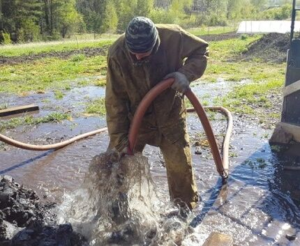 Промывка скважины двумя насосами