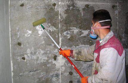 Обработка стен шахты