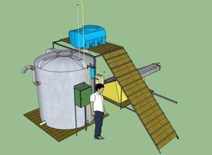 Установка для переработки навоза в биогаз