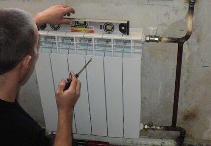 Установка радиатора специалистом
