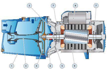 Схема устройства центробежного насоса