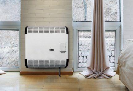 Настенный газовый конвектор в спальне