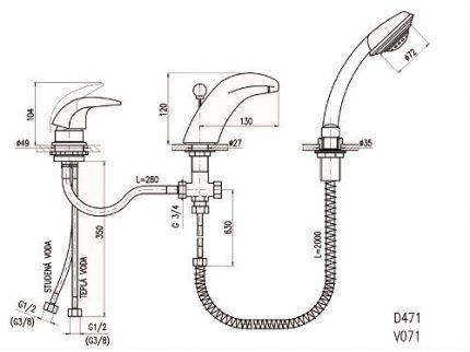 Схема врезного смесителя для ванны