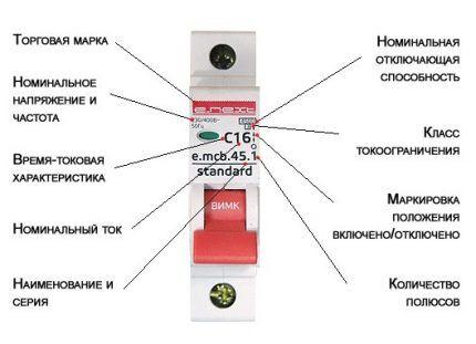 Маркировка выключателя