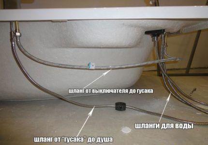 Схема подключения смесителя к сети водоснабжения