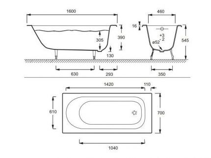Размеры чугунной ванны