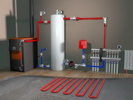 Схема двухтрубного отопления в обустройства частного дома