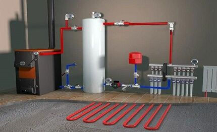 Схема принудительной системы водяного отопления