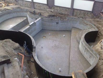 Бассейн, обработанный снаружи битумно-полимерным составом