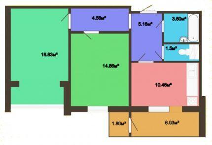 Схема 2-комнатной квартиры