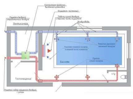 Приточная вентиляция в паре с осушителями воздуха в бассейне