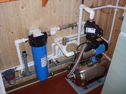 Внутренняя часть системы водоснабжения частного дома