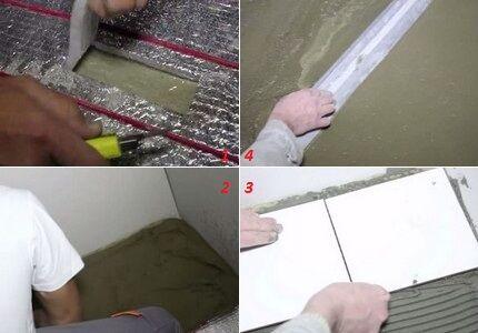 Этапы прокладки изоляции и выполнения стяжки