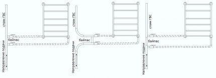 Схемы для монтажа и подключения полотенцесушителя своими руками
