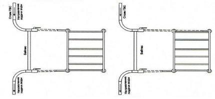 Схема для монтажа полотенцесушителя своими руками
