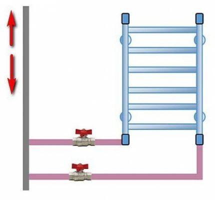 Установка полотенцесушителя с удлиненными участками подключения