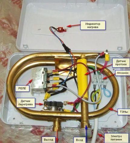 Внутреннее устройство проточного нагревателя