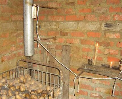 Мокрая картошка в погребе под вытяжкой