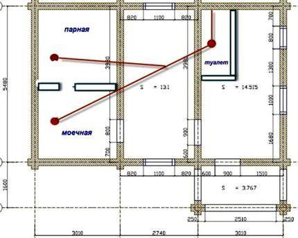 Вариант плана с линией прокладки