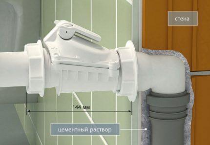Подключение обратного клапана с помощью колена