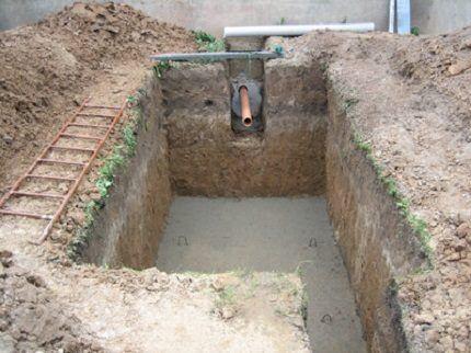 Установка септика на бетонную поверхность