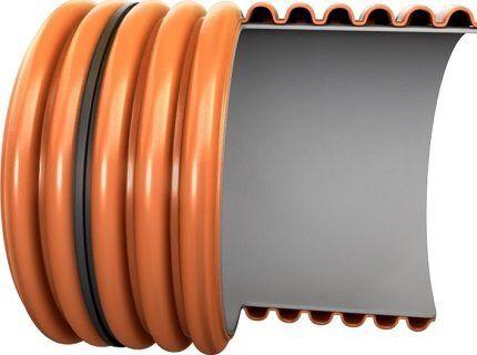 Схема двухслойной гофрированной трубы