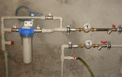 Водомерный узел системы водоснабжения