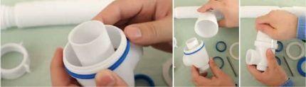 Процесс запрессовки закладки для установки сифона на ванну